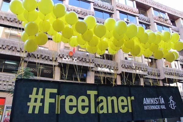 Protesta en Madrid para pedir la libertad de Taner Kiliç, presidente de Amnistía Internacional en Turquía