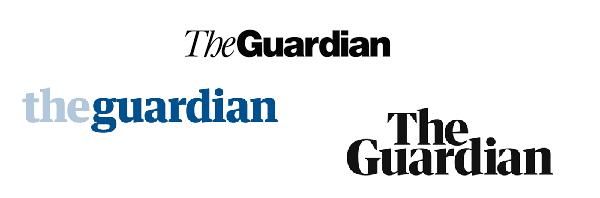Tres logotipos de tres etapas del periódico británico.