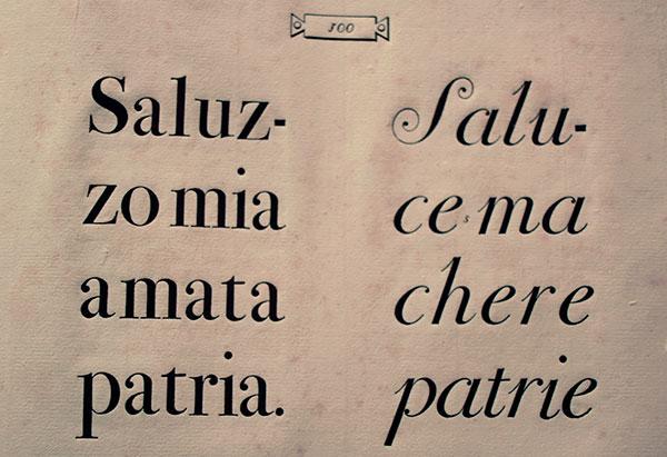 Tipos Bodoni, en redonda y en cursiva.