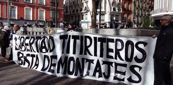 Protestas en Madrid por el encarcelamiento de los titiriteros