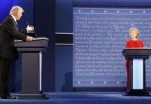 Donald Trump y Hillary Clinton durante el debate en la Universidad de Hofstra