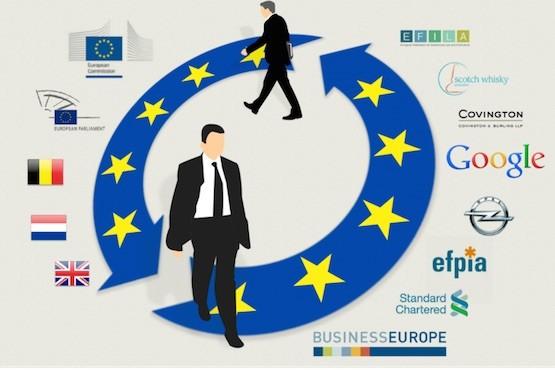 Cartel de denuncia de las puertas giratorias entre directivos de la UE y firmas transnacionales