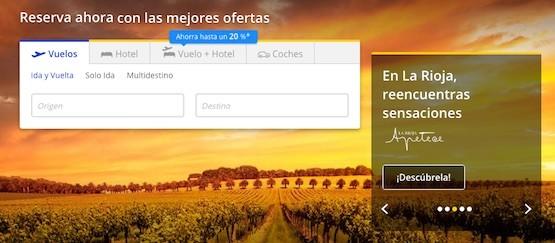 cabecera web de viajes combinados